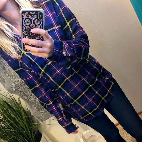 2026a3a6e73 Splendid Tops - Splendid Plaid Pullover Blouse Size Small